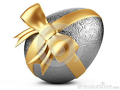 Silver easter egg with gold ribbon