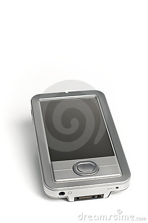 Silver Electronics PDA on white background
