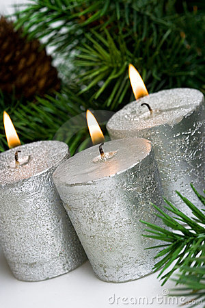 Silver festive candles