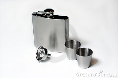 Silver Flask and Shot Glasses