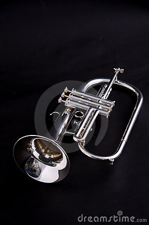 Silver Flugalhorn Isolated On Black Backgound