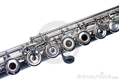 Silver Flute Isolated On White