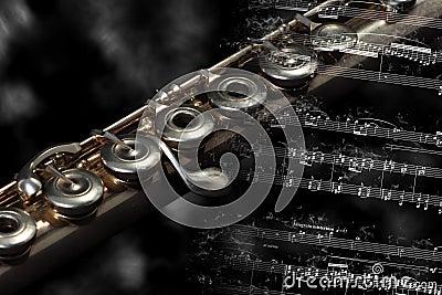 Silver flute  on a music score