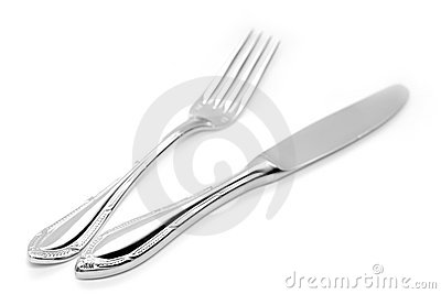 Silver Fork and Knife Stock Photo