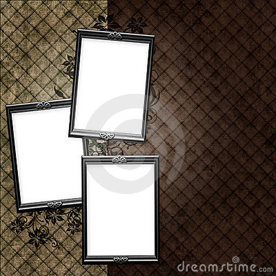 Silver frame over vintage striped wallpaper