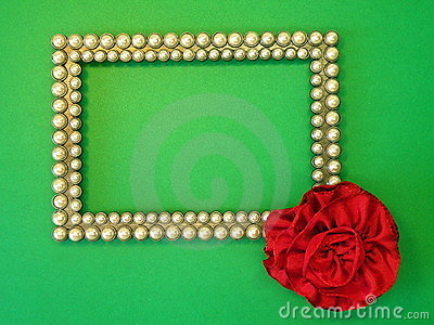 Silver frame and red ribbon