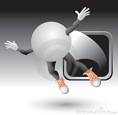 Silver framed ping pong cartoon character