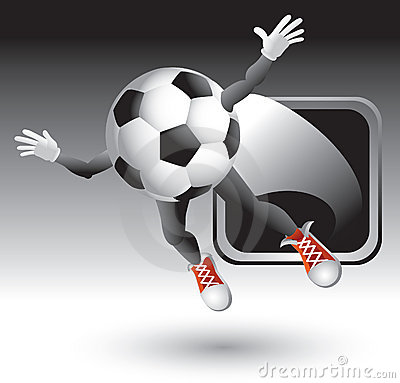 Silver Framed Soccer Ball Character Royalty Free Stock Images - Image: 8993719