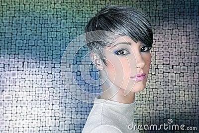 Silver futuristic hairstyle makeup portrait