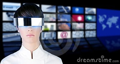 Silver futuristic woman portrait tv news cinema