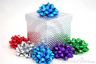 Silver gift with bows