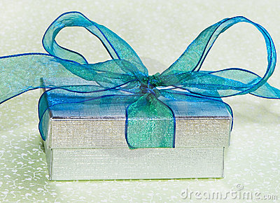 Silver Gift Box With Blue Bow On Green Tablecloth