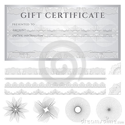 Silver Gift certificate (Voucher) template. Patter