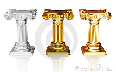 Silver gold and bronze pedestals