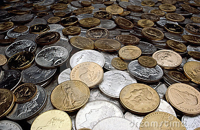 Silver and Gold Coins Editorial Stock Image