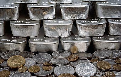Silver and Gold Coins with Silver Bars Editorial Photography