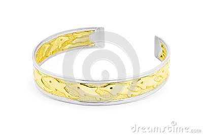 Silver and gold dolphin bracelet