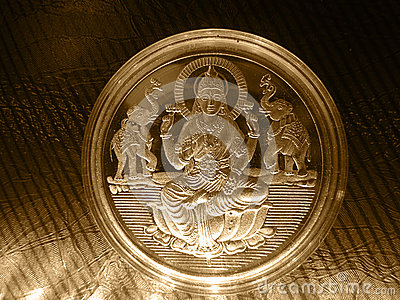 Silver gold metal vintage coin with Hindu God