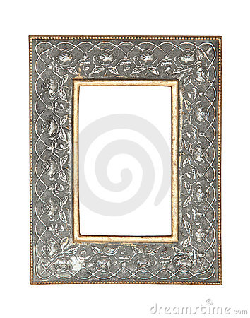 Silver - gold picture frame with clipping path