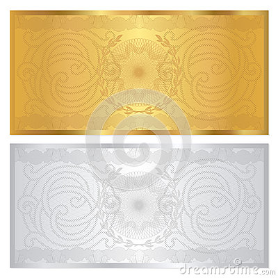 Free Silver / Gold Voucher Template. Guilloche Pattern Royalty Free Stock Photography - 30035357