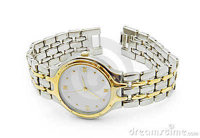 Silver and gold wrist watch