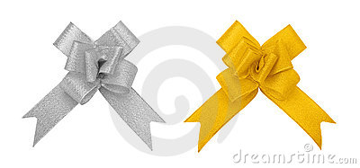 Silver and golden bow cutout