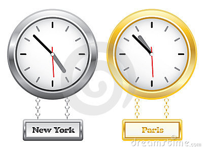 Silver and golden clocks showing time in New York