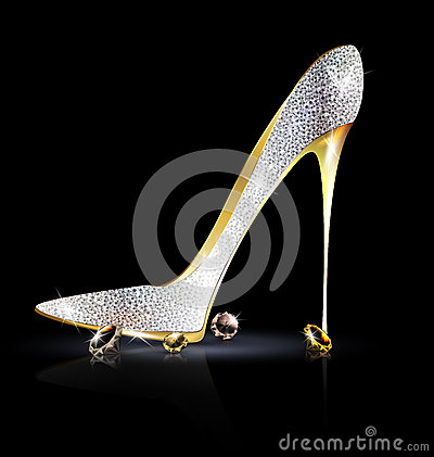 Free Silver Golden Shoe With Crystals Royalty Free Stock Image - 49457846