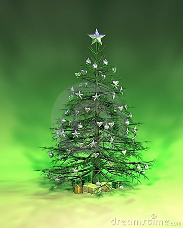 Silver Green Christmas Tree