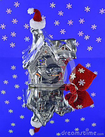 Silver house with Santa hat