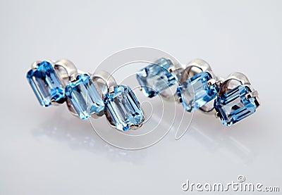 Silver jewelry with blue topaz