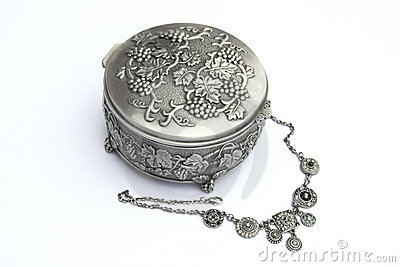 Silver jewelry box with a neckless