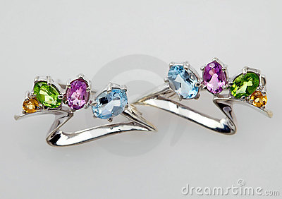 Silver jewelry with gems