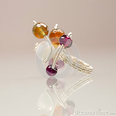 Free Silver Jewels With Colorful Precious Stones Stock Photo - 44011120