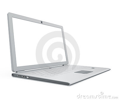 Silver laptop angle view