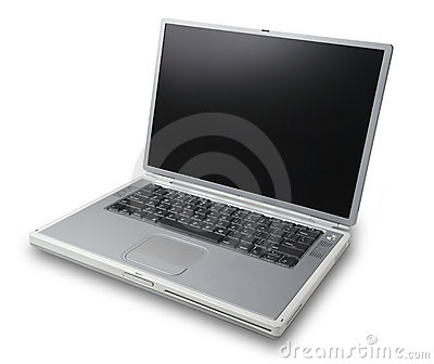 Silver laptop facing left,isolated