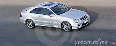 Silver luxury sport coupe car