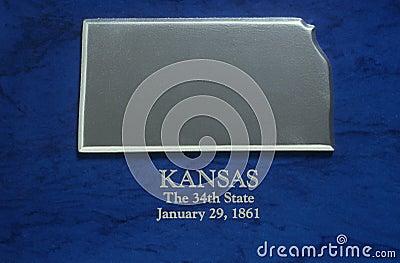 Silver Map of Kansas
