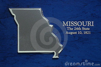 Silver Map of Missouri