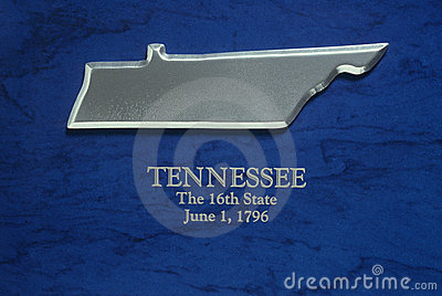 Silver Map of Tennessee