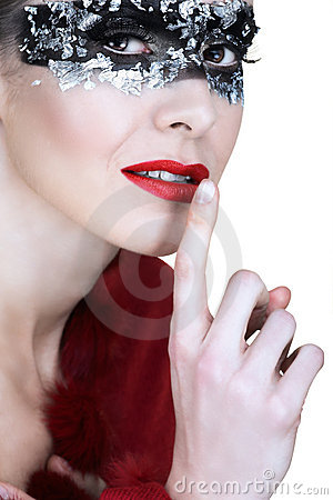 Silver mask and red lips