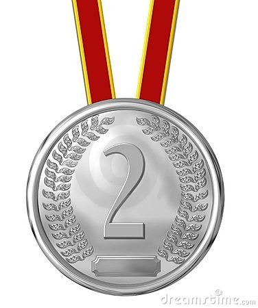 Silver medal and number 2