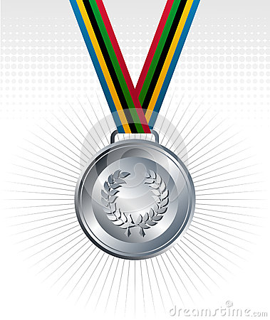Silver medal with ribbons background