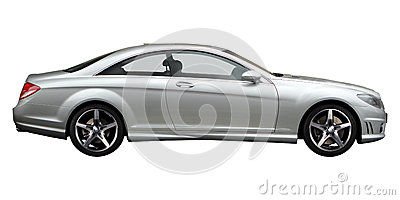 Silver Mercedes side view