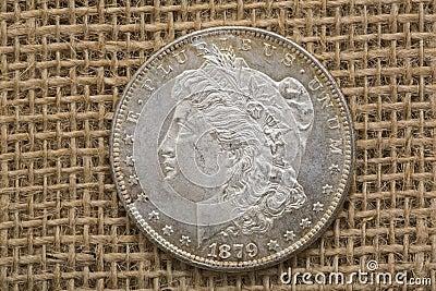 Silver Morgan dollar 1879 obverse front