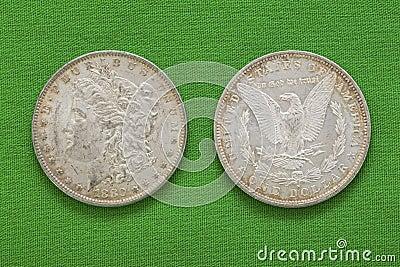 Silver Morgan US dollars 1880 obverse reverse