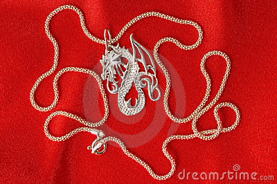 Silver necklace - a dragon.