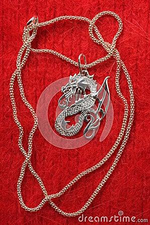 Silver necklace - a dragon.