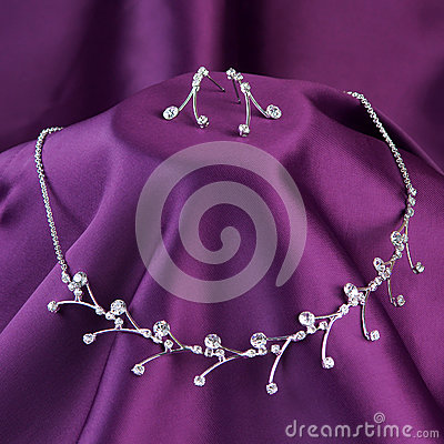 Silver necklace with gemstones