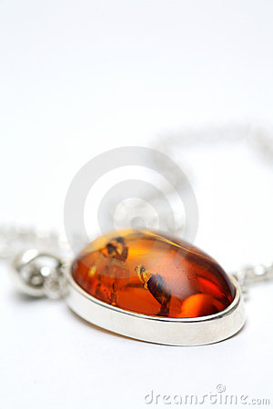 Free Silver Necklace With Amber Inlay Royalty Free Stock Photo - 679705